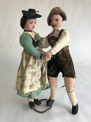 Antique Tyrolean Doll Boy And Girl Dancing Hand Made Swiss Austrian