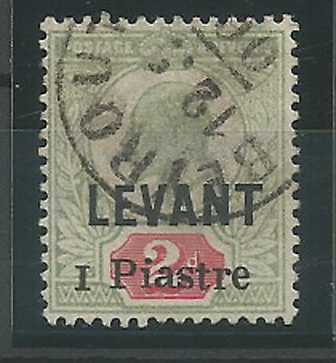 1906 GREAT BRITAIN  BRITISH PO IN TURKEY # 25  1pi  USED IN BEYROUTH LEBANON
