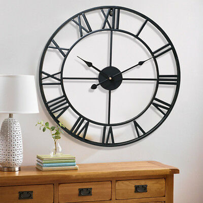 Vintage European Big Rome Numbers Round Metal Hollow Wall Clock Battery Operated