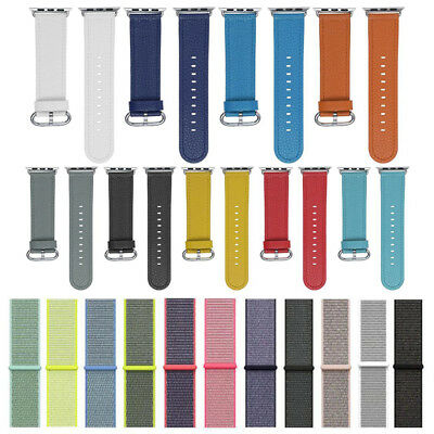 Woven Nylon /Leather Sport Loop Band Strap Bracelet For iWatch Apple Watch 1 2 3