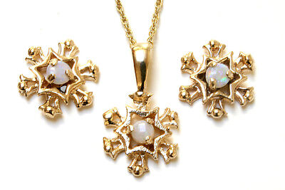 9ct Gold Opal Snowflake Pendant Necklace and Earring Set Made in UK Gift Boxed