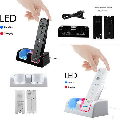 Dual Charger Charging Dock Station + 2 Battery For Nintendo Wii / Wii U Remote