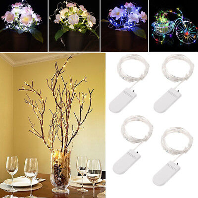 Led String 4 Pack Fairy Micro Lights 1M 20 LED Silver Wire Decor Battery Powered