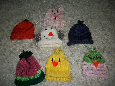 Lot Of 7:   Hand Knit Baby Girl Hats...new...fits Newb0Rn To 18 Months