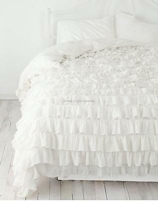 Shabby Petticoat Ruffle Chic Ivory Ruffled Queen Bed Duvet Doona Quilt Cover New