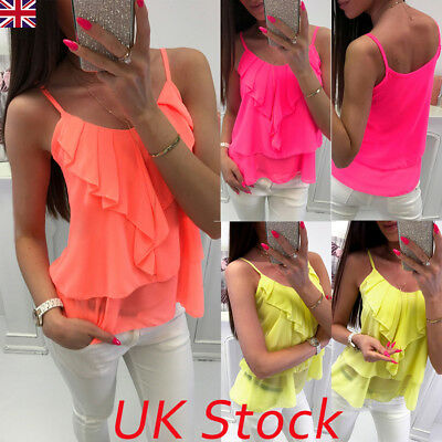Plus Size 8-22 UK Summer Women Strappy Chiffon Vest Top Sexy Ladies Blouse Shirt