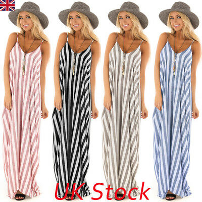 UK Summer Holiday Womens Strappy Striped Long Boho Dress Ladies Beach Maxi Dress
