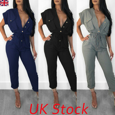 UK Ladies Women Summer Jumpsuit V-neck Clubwear Bodycon LongPants Casual Romper