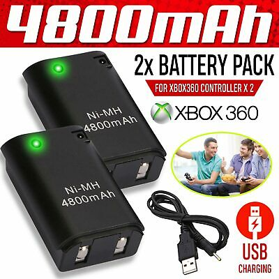 Rechargeable 2X  4800mAh Battery Pack Play&Charge Cable for Xbox 360 Controller