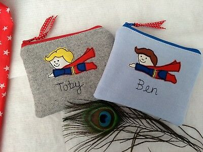 Personalised Boys Superhero Superman Coin Purse Wallet Word Colour Choice Gift