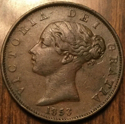 1853 Uk Gb Great Britain Victoria Halfpenny