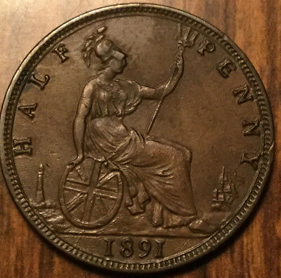 1891 Uk Gb Great Britain Victoria Halfpenny