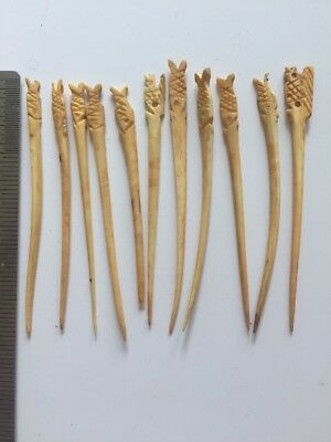 Lot 11 Antique Vtg Hand Carved Toothpicks Hair Tooth Pin ESTATE FIND