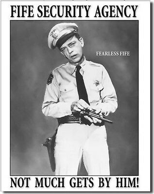 Fife Security Agency Metal Tin Sign Andy Griffith Show Barney Tv Home Wall Decor