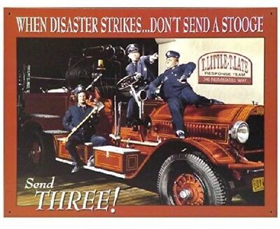 Three Stooges Classic Comedy Fire Department Retro Metal Tin Sign New