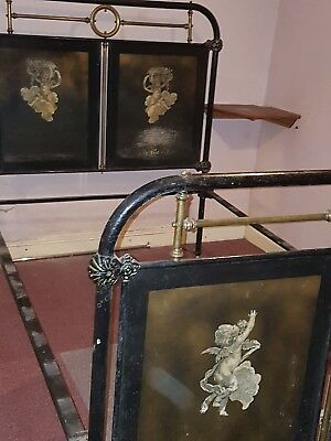 Antique cast iron 4ft Double bed frame with laquered decorative panels