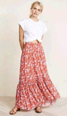 b8613697bd NEW Free People 2018 Way of the Wind Printed Maxi Skirt Sz Small Red Orange