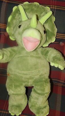 "Build a Bear Dinosaur Plush Triceratops Green Teddy 18"" Retired BABW Tag Soft"