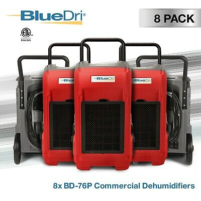8 Pack BlueDri BD-76P Industrial Grade Commercial Dehumidifier, Red