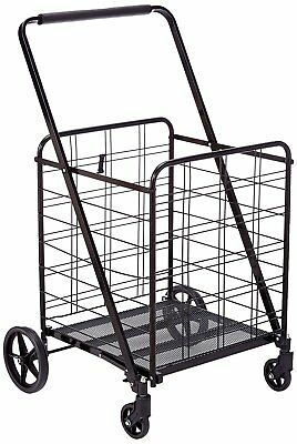 Uniware Heavy Duty Jumbo Size Shopping Cart 360°- Load 150 LB, Durable, Black