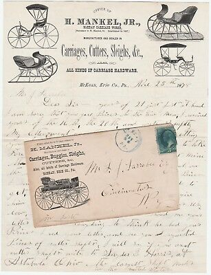 RARE 1878 Graphic Advertising Cover & Letterhead Mankel Carriage McKean PA als
