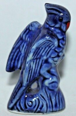 "VINTAGE Cobalt Blue ""JAPAN"" Glazed Ceramic Parrot Bird, 2 1/2"" Tall, Very Nice!"