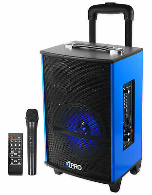 Technical Pro WASP810U Rechargeable Bluetooth Karaoke Machine System w/LED's+Mic