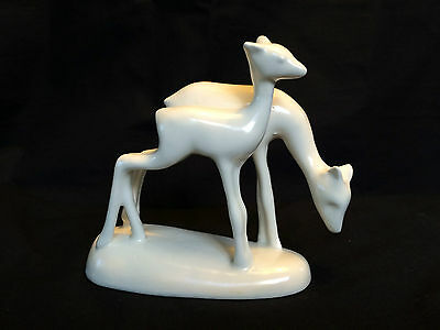 WHITE  Gouda FIGURINE couple of deer  by Peter Swildens  PLATEEL