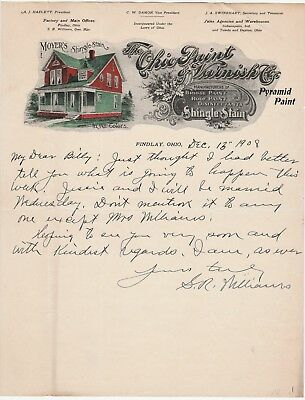 RARE - 1908 Color Litho Illustrated Advertising Letterhead - Ohio Paint Varnish