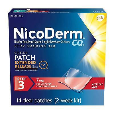 Nicoderm CQ Clear Nicotine Patch, Stop Smoking Aid, 7 mg, 14 Patches each
