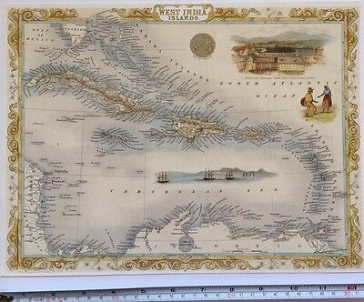 "Antique vintage colour map 1800s: West India Island: John Tallis 13 X 9"" Reprint"