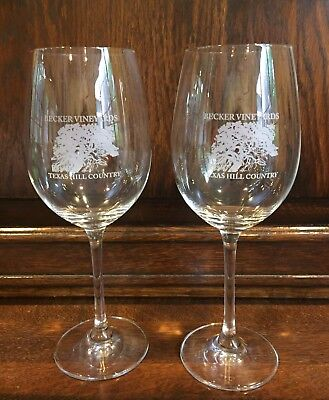 2 Becker Vineyards Stonwall Texas Hill Country Stemmed Wine Glass