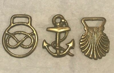 3 Small Nautical Horse Brass Harness Bridle Collectible