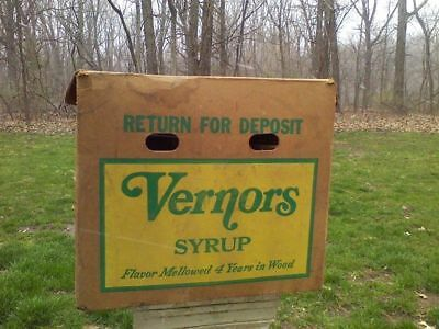 Vernors Case Crate Ginger Ale Soda 4 Gallon Syrup Bottle Box Monroe Mi Vtg 1960s