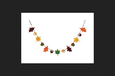 Dyno Harvest Felt Garland Fall Decoration Multicolored 60 in. L
