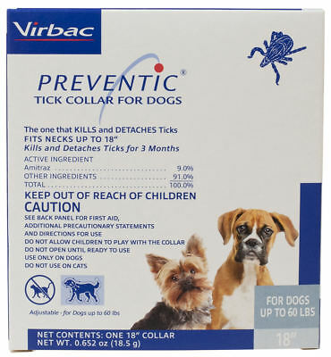 """Preventic tick Collar for Dogs 18"""" Protects up to 3 Months up to 60Lbs"""