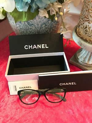 CHANEL 3243 C.1403 Black/White Tweed 52-16-135 Eyeglass Frames, Made in Italy