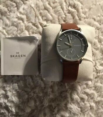 0a68297d8ad42a Skagen SKW6264 Men s Holst Leather Band 3-Hand MultiFunction Day Date Watch