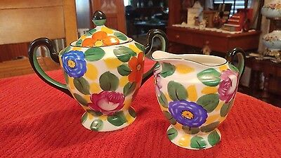 Beautiful Art Deco Rare Meito China Sugar & Creamer Hand Painted Made in Japan