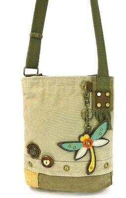 3e0f2edbb Chala Purse Handbag Sand Canvas Crossbody with Key Chain Tote Bag Dragonfly