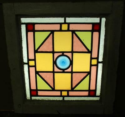 "VICTORIAN ENGLISH LEADED STAINED GLASS WINDOW Beauty with Bullseye 14.5"" x 15.5"""