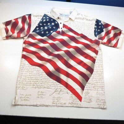 2d5dc5350 AMERICAN SUMMER DECLARATION OF INDEPENDENCE USA FLAG POLO SHIRT Sz Mens L
