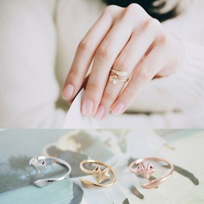 Women Elegant Rose Gold Silver Color Coil Charm Open Simple Fox Jewelry Ring