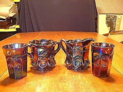 4 Pieces of Mosser Amethyst Carnival Glass In Cherry & Cable Pattern