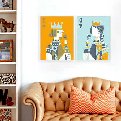 Vintage Abstract Poker King Queen Lovers Poster Prints Wall Art Canvas Paintings