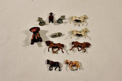 Lot of Small Toys Horses Man Sitting and 3 Game Pieces-BL