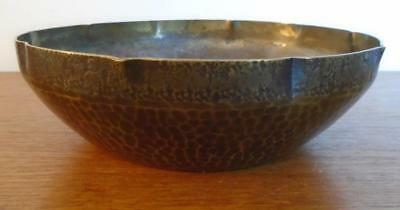 Arts & Crafts Mission Era Hammered Brass Bowl With Copper Finish Heavy Well Made