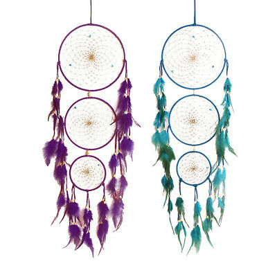 2pcs Dream Catcher Feathers Bead Car Wall Hanging Decor Ornament Purple&Blue