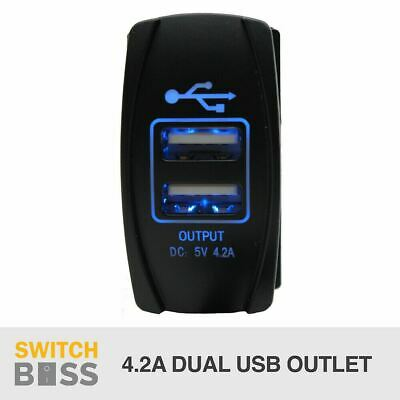 Dual USB Car Charger 4.2A BLUE DC Carling ARB Narva Rocker 5V Switch 12V-24V
