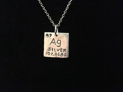 Silver Periodic Square Necklace, Ag, real 925, Artisan Made